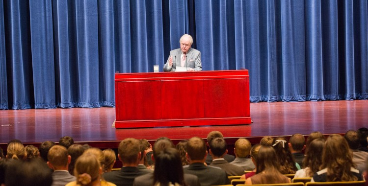 Gerald Flurry speaks to the student body.